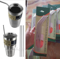 Wholesale 30 oz oz YETI Stainless Steel Straw Metal Drinking Straw straight curved Beer Juice Straws Cleaning Brush Set for Tumbler Rambler Cup