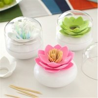 Wholesale Toothpick Cotton swab box cotton bud holder base room decorate Lotus Toothpicks holder case