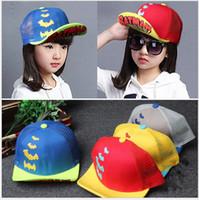 bat net - Summer new cartoon embroidered bat net cap Children s hat prevented bask in sun hat boy and girl sun net cap