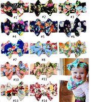 Boy baby girl headwraps - 2016 baby girls flower headbands kids boutique hair bows childrens floral hair accessories cotton elastic hairbands hair flowers headwraps