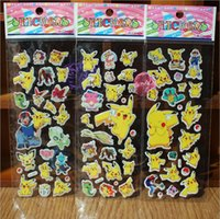Wholesale Poke Pikachu Sticker cm D Cartoon party Decor book Stickers Avenger paper game children s sticker toys more styles HHA1062