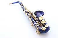 Wholesale French Selmer E Flat Alto Saxophone Top Musical Instrument Saxe Blue lacquer Carved Process Sax Salma