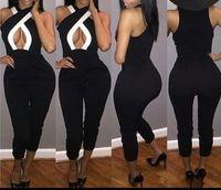 american apparel romper - 2016 American Apparel Women Sexy Rompers Hollow Out Soild Skinny Romper Cross collar Slim Full Length Sexy Elegant Jumpsuits