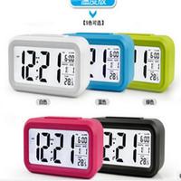 Wholesale 2016 LED Alarm Clock despertador Temperature Sounds Control LED display electronic desktop Digital table clocks