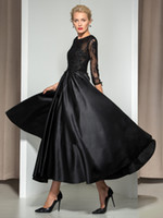 beads on sale - On Sale Evening Dress With A line Satin Tulle Jewel Neck Tea Length Lace Appliques Beads Sleeves Black Dress Evening Wear DL60238