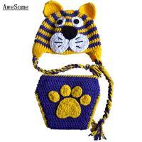 auburn hats - Novelty Clemson Tiger Auburn Tiger Costume Handmade Knit Crochet Baby Boy Girl Earflap Hat Diaper Cover Set Toddler Photo Prop