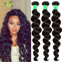 Wholesale best Brazilian human hair Loose wave Bundles a Unprocessed cheap Human Hair extensions grade A brazilian hair wefts