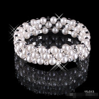 alloy stock - Cheap In Stock New Row White Pearls Bridal Bracelets Wedding Jewelery Vintage Bracelet for Party Prom Evening Women SSJ