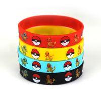 anime bracelet - Poke Bracelets Colors Silicone Wristband Soft Jelly Wrist Straps Kids Children Anime Gifts for Christmas Birthday Party