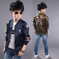 air force wear - Acket boy shark head zipper jacket air force children to wear bad boy trenches brothers and sisters ZJ017