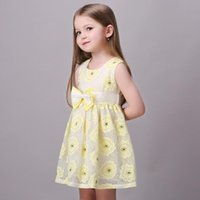 Wholesale Cute Girls Clothes Summer Dresses Childrens Big Bowknot Tunic Kids Clothing Birthday Party Perform Lace Dress Yellow K7205