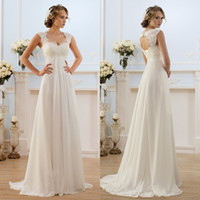 Wholesale Charming Empire Chiffon Wedding Dresses Boho Style A Line Lace Backless Floor Length Simple Bridal Gowns
