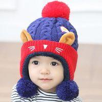 age kittens - 2016 Cartoon kitten plus velvet wool Autumn Winter Baby Child knitted hat kids girls Earflap Caps Age for years old