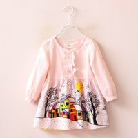 american printing house - 2016 Autumn New Girl Dress Cartoon House Tree Snow Long Sleeve Dress Children Clothing