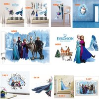 Wholesale DHL Mix Order Removable Elsa Frozen Wall Stickers Olaf Decoration Princess Decorative Wall Decall for Kids Rooms