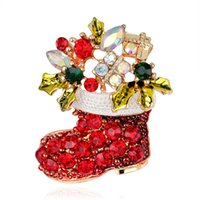Wholesale Newly fashion Xmas Gift decoration jewelry Brooches snowman socks rhinestone brooch red colour christmas boots brooches