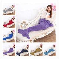 Wholesale Mermaid Tail Blanket Super Soft Hand Crocheted cartoon Sofa air condition blanket siesta blanket X90cm