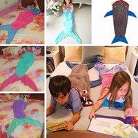 animal tails clothing - 140cm Kids Mermaid Tail Sleeping Bag Children Soft Warmer Shark Blankets Wrap Fleece Bed Sofa Cocoon Snuggle in Blanket PPA393