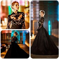 Wholesale 2016 New Vintage Gothic Black Wedding Dresses Long Sleeves High Neck Lace Tulle Taffeta A Line Sweep Train Bridal Gowns Custom Made mz