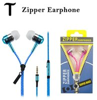Wholesale High quality mm in ear Stereo Universal Zipper Earphones Headset headphone With Remote Mic for iPhone Samsung s6 HTC LG Cell Phone