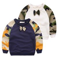 all'ingrosso dark and lovely-Autunno del camuffamento di stile maglioni Neonato Pullover con decorazione Bow Lovely 2 colori Bianco Blu Scuro