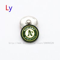 athletic glasses - Fashion accessories Oakland Athletics MLB baseball glass snap button jewelry charm popper for Baseball fans bracelet jewelry making NE0082