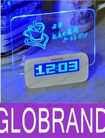 Wholesale Romantic Fluorescent Message Board Pen LED Electronic Digital Luminous Desk Alarm Clock Calendar Ports USB Hub Screen AAA Battery GLO602