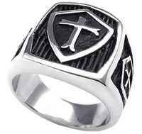 Wholesale Mens Stainless Steel Ring Vintage Shield Cross Silver Black US size to Drop Shipping