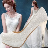 ballet shoes pictures - Princess White Sequins the bride shoes picture taken wedding shoes waterproof platform heels dress party shoes