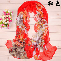 Wholesale 2016 New women fashion scarf the national flower peony printing long soft silk scarves georgette scarves