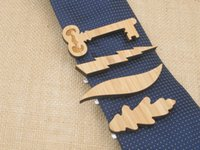 Wholesale Wood tie clip Made of Eco friend Bamboo wood Leaf Key Lightning Awesome gift for him
