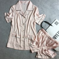 Wholesale The explosion of female short sleeved shorts Silk Satin Pajamas Home Furnishing wear comfortable and breathable