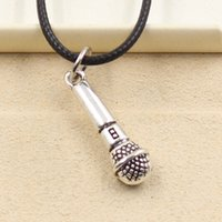 antique microphone - vintage antique bronze silver microphone leather chain pendant choker necklace for women and men
