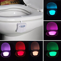 Wholesale 8 Colors Changing Body Motion Dection Sensor Automatic LED Light Toilet Bowl Lid Bathroom Seat Hanging Night Light Lamp Sensor Lights
