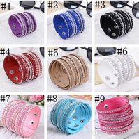 Wholesale 9 Colors New leather tennis bracelet Unisex Multilayer Leather Bracelet Christmas Gift Charm Bracelets Vintage punk Jewelry For Women
