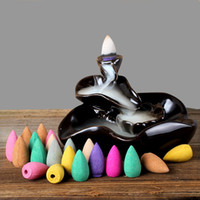 Cheap cone red 50Pcs Mix Stowage Colorful Fragrance Triple Scent Incense Cones Potpourri Flow Backwards Indoor Spices