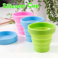 Wholesale Novelty items travel folding retractable silica gel portable cup outdoor glass bottles