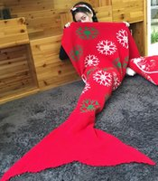Wholesale Christmas Mermaid Blankets cm Knitted Mermaid Tail Blankets Christmas Blanket Cartoon Blankets Christmas Gifts