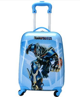 Wholesale 16 Boys Transformer Rolling Luggage Children Cartoon Travel Suitcase Hardside Trolley Case Superhero School Bag On Wheels