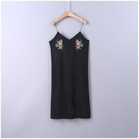 Wholesale Early autumn new folk style wo yao dang cheng suede embroidered dress female slingd The latest fashion is the most beautiful