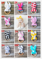 Wholesale Fedex DHL Safety baby Teething Ring Fabric and Wooden Teething training with Crinkle Material Inside Sensory Toy Natural teether bell M13 B