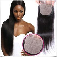 Wholesale 7A Unprocessed Top Quality Natural Color Silk Base Lace Closure Peruvian Unprocessed Human Hair Straight Silk Top Closure With Baby Hair