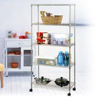 Wholesale 5 Tier Wire Rolling Shelf Storage Kitchen Garage Organizer Shelving Rack W Wheel