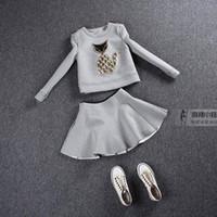 Wholesale Twinset Women Pullover O neck Cartoon Print Sweatshirt MINI Skirt Pieces Set Casual Space Cotton Fashion Clothing Suit Set