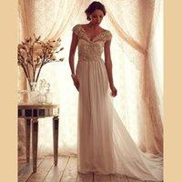 Wholesale 2016 Elegant Chiffon Long Wedding Dresses Luxurious Beading Sexy V neck Sweep Train Cap Sleeve Bridal Gown