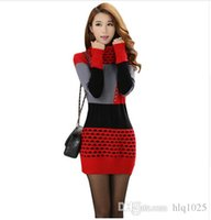 bell sleeve black dress - Women Fall Winter Turtleneck Long Sleeve Sweater Dress Polka Dot Plus Size Women Dress
