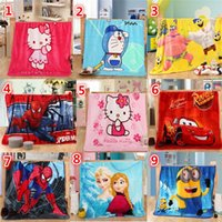 Wholesale 20 styles Children Blankets spidermen minions frozen princess thomas sofia mcqueen car stitch pooh mickey Altman KT superhero
