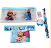 Wholesale Frozen stationery set Students Office School Supplies Frozen Cases Bag book pencils Ruler eraser sharpener bag