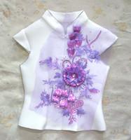Wholesale 26 cm D purple sequined flower embroidery paillette on purple mesh patch applique for wedding dress clothes decoration DIY
