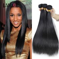achat en gros de extensions de cheveux humains tisse-La branche brésilienne des tissus de tissus tissés à la main Unprocessed Brazillian Indienne péruvienne Malais Cambodgienne Straight Hair Extensions Natural Black